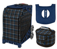 Zuca Sport Bag - Imperial Plaid with Gift Lunchbox and Zuca Seat Cover (Navy Frame)