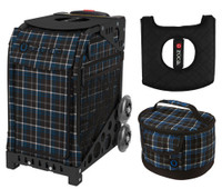 Zuca Sport Bag - Imperial Plaid with Gift Lunchbox and Seat Cushion (Black Non- Flashing Wheels Frame)