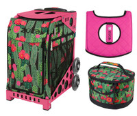 Zuca Sport Bag - Desert Blossoms with Gift Lunchbox and Zuca Seat Cover (Pink Frame)