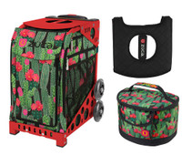 Zuca Sport Bag - Desert Blossoms with Gift Lunchbox and Zuca Seat Cover (Red Frame)