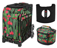 Zuca Sport Bag - Desert Blossom with Gift Lunchbox and Zuca Seat Cover (Black Non- Flashing Wheels Frame)