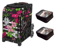 Zuca Sport Bag - Petals & Stripes  with Gift 2 Small Utility Pouch (Black non-Flashing Wheels Frame)