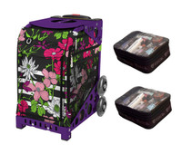 Zuca Sport Bag - Petals & Stripes  with Gift 2 Small Utility Pouch (Purple Frame)
