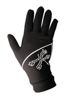 "Icedress - Thermal Figure Skating Gloves ""Shine"" (Black with Rhinestones )"