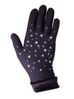 Icedress - Thermal Figure Skating Gloves  with Velvet and  Rhinestones Svarowski