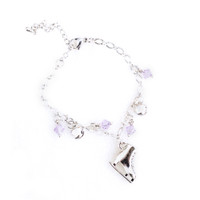 Ice Skating Jewelry - Bracelet with Lilac Charms
