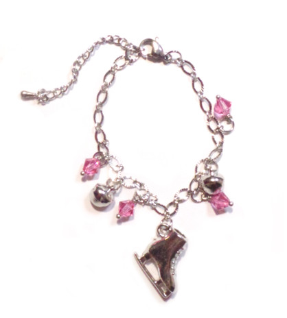 Ice Skating Jewelry - Bracelet with Pink Charms