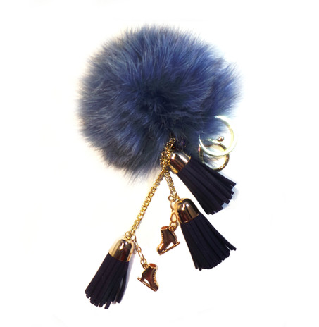 Ice Skating Jewelry - Fluffy & Blue Keycain
