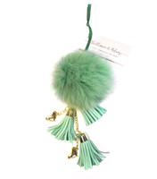 Ice Skating Jewelry - Fluffy & Green Keychain