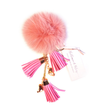 Ice Skating Jewelry - Fluffy & Light Pink Keycain