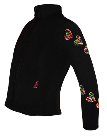 "Ice Skating Jacket with ""Neon Spiral Hearts"" Rhinestuds Design"
