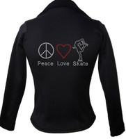ChloeNoel Figure Skating Jacket  J42 Peace Love Skate 2 Child Small CLEARANCE (25% OFF)