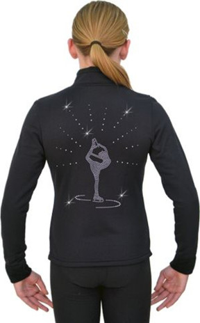 J11 Solid Polar Fleece Fitted Figure Skating Jacket w/ Biellman Spin Crystals