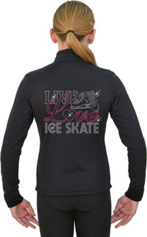 J11 Solid Polar Fleece Fitted Figure Skating Jacket w/ Live, Love Skating Crystals