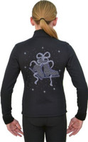 J11 Solid Polar Fleece Fitted Figure Skating Jacket w/ Skate/Ribbon Blue Sapph  Crystals