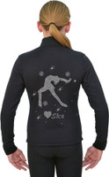 J11 Solid Polar Fleece Fitted Figure Skating Jacket w/ Love SK8 AB Crystals