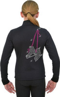J11 Solid Polar Fleece Fitted Figure Skating Jacket w/ Skates w/ Hanger Lace FS  Crystals