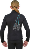 J11 Solid Polar Fleece Fitted Figure Skating Jacket w/ Skates w/ Hanger Lace TQ  Crystals