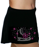 ChloeNoel K01 Aline Skate Skirt w/ Skate Fuchsia Snowflakes Crystals