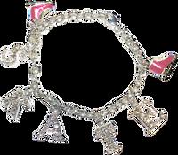 CnloeNoel Crystal Skate Bracelet (Silver/Pink)