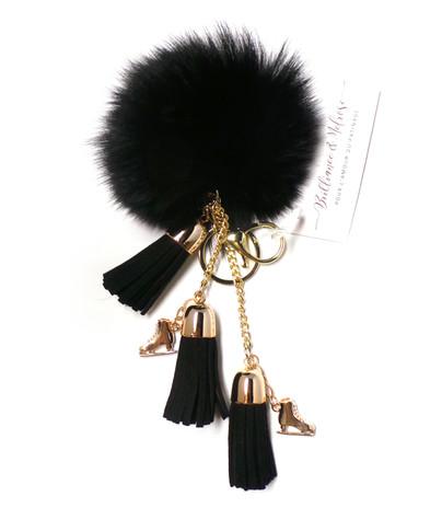 Ice Skating Jewelry - Fluffy & Black Keychain
