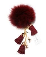 Ice Skating Jewelry - Fluffy & Burgundy Keychain