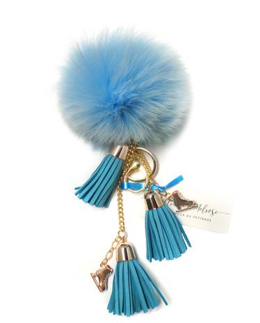Ice Skating Jewelry - Fluffy & Light Blue Keychain