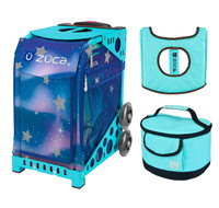 Zuca Sport Bag - Aurora with Gift  Turquoise/Brown Seat Cover and Turquoise Lunchbox (Turquoise Frame)