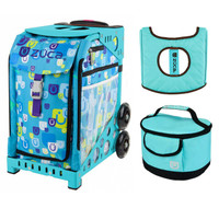 Zuca Sport Bag - Be Zappy with Gift  Turquoise/Brown Seat Cover and Turquoise Lunchbox (Turquoise Frame)