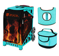 Zuca Sport Bag - Blaze with Gift  Turquoise/Brown Seat Cover and Turquoise Lunchbox (Turquoise Frame)