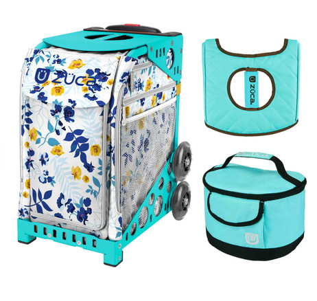 Zuca Sport Bag - Boho Floral with Gift  Turquoise/Brown Seat Cover and Turquoise Lunchbox (Turquoise Frame)