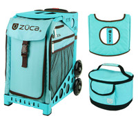 Zuca Sport Bag - Calypso with Gift  Turquoise/Brown Seat Cover and Turquoise Lunchbox (Turquoise Frame)