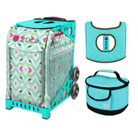 Zuca Sport Bag - Chevron with Gift  Turquoise/Brown Seat Cover and Turquoise Lunchbox (Turquoise Frame)