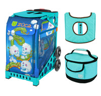Zuca Sport Bag - Cloud Commandos with Gift  Turquoise/Brown Seat Cover and Turquoise Lunchbox (Turquoise Frame)