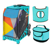 Zuca Sport Bag - Colorblock Party with Gift  Turquoise/Brown Seat Cover and Turquoise Lunchbox (Turquoise Frame)