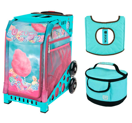 Zuca Sport Bag - Cotton Candy with Gift  Turquoise/Brown Seat Cover and Turquoise Lunchbox (Turquoise Frame)