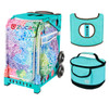 Zuca Sport Bag - Explosion with Gift  Turquoise/Brown Seat Cover and Turquoise Lunchbox (Turquoise Frame)