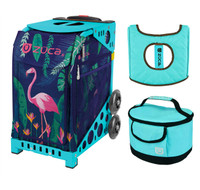Zuca Sport Bag - Flamingo with Gift  Turquoise/Brown Seat Cover and Turquoise Lunchbox (Turquoise Frame)