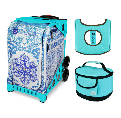 Zuca Sport Bag - Ice Garden with Gift  Turquoise/Brown Seat Cover and Turquoise Lunchbox (Turquoise Frame)
