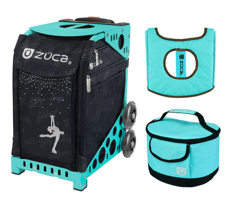 Zuca Sport Bag - Ice Queen with Gift  Turquoise/Brown Seat Cover and Turquoise Lunchbox (Turquoise Frame)