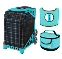 Zuca Sport Bag - Imperial Plaid with Gift  Turquoise/Brown Seat Cover and Turquoise Lunchbox (Turquoise Frame)