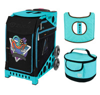 Zuca Sport Bag - Kickflip with Gift  Turquoise/Brown Seat Cover and Turquoise Lunchbox (Turquoise Frame)