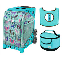Zuca Sport Bag - Llama Rama with Gift  Turquoise/Brown Seat Cover and Turquoise Lunchbox (Turquoise Frame)