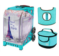 Zuca Sport Bag - Meet Me In Paris with Gift  Turquoise/Brown Seat Cover and Turquoise Lunchbox (Turquoise Frame)