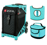 Zuca Sport Bag - Mystic with Gift  Turquoise/Brown Seat Cover and Turquoise Lunchbox (Turquoise Frame)