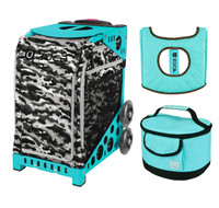 Zuca Sport Bag - Nu Camo with Gift  Turquoise/Brown Seat Cover and Turquoise Lunchbox (Turquoise Frame)