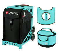 Zuca Sport Bag - Obsidian with Gift  Turquoise/Brown Seat Cover and Turquoise Lunchbox (Turquoise Frame)