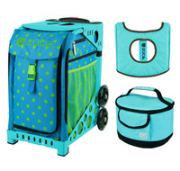 Zuca Sport Bag - Orbz with Gift  Turquoise/Brown Seat Cover and Turquoise Lunchbox (Turquoise Frame)
