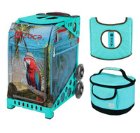 Zuca Sport Bag - Parrotdise with Gift  Turquoise/Brown Seat Cover and Turquoise Lunchbox (Turquoise Frame)