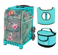 Zuca Sport Bag - Peek-A-Boo Friends with Gift  Turquoise/Brown Seat Cover and Turquoise Lunchbox (Turquoise Frame)